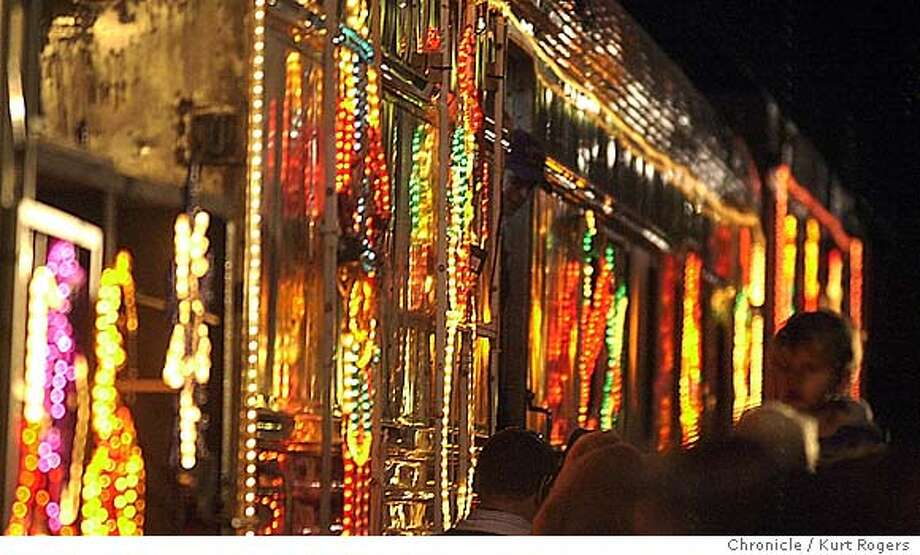 The Train was covered in lights making five stops along the way.  Caltrain and its special Trains for tots. Event on 11/29/03 in San Francisco. KURT ROGERS / The Chronicle Photo: KURT ROGERS