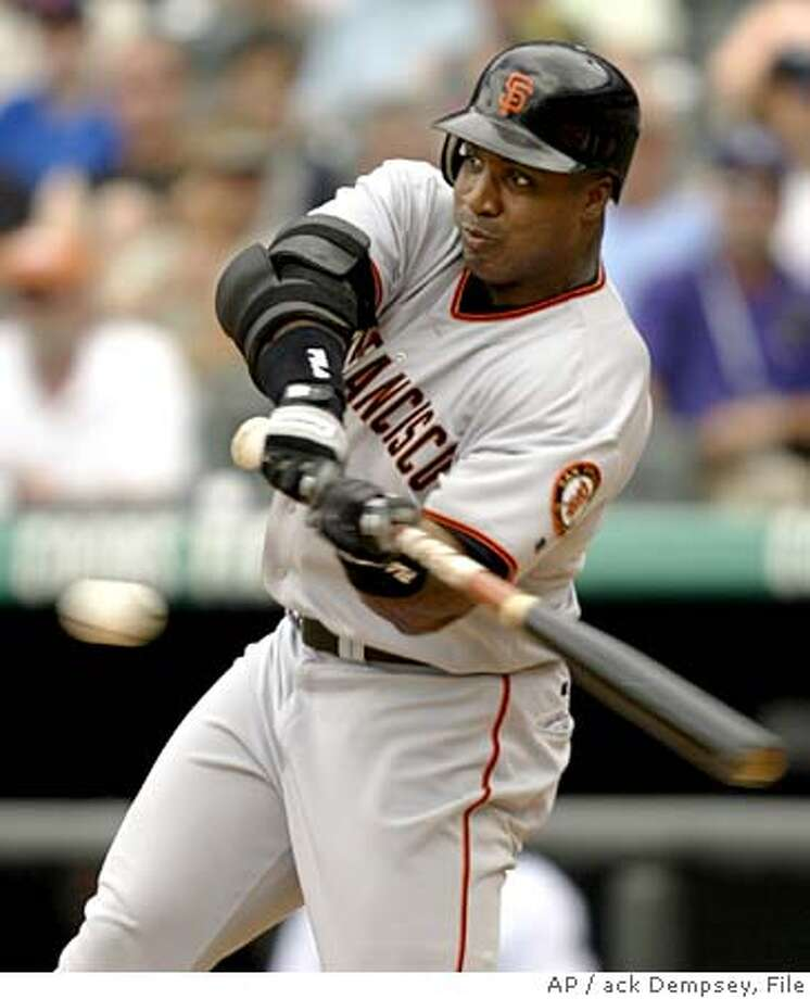** FILE ** San Francisco Giants' Barry Bonds connects for a solo home run off Colorado Rockies relief pitcher Scott Dohmann during the sixth inning in Denver, in this June 6, 2004 file photo. Bonds won his record seventh NL MVP award in a walk. Capping a season of suspicion and success, Bonds became the oldest player to win the award. The 40-year-old received 24 first-place votes and 407 points Monday, Nov. 15, 2004 in balloting by the Baseball Writers' Association of America to earn the award for the fourth straight season (AP Photo/Jack Dempsey) Sports#Sports#Chronicle#12/5/2004#ALL#2star##0422468445 Photo: JACK DEMPSEY