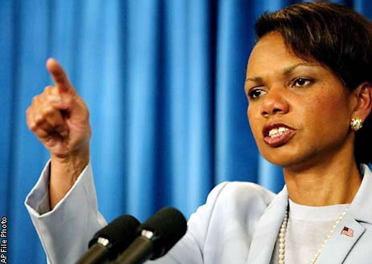 National Security Adviser Condoleezza Rice gestures during a presss briefing at the White House Thursday May 16, 2002 in Washington. Rice said that President Bush had received general, nonspecific information during a vacation briefing at his ranch Aug. 6 that bin Laden's group was considering hijackings, and he never considered making the information public. (AP Photo/Pablo Martinez Monsivais)