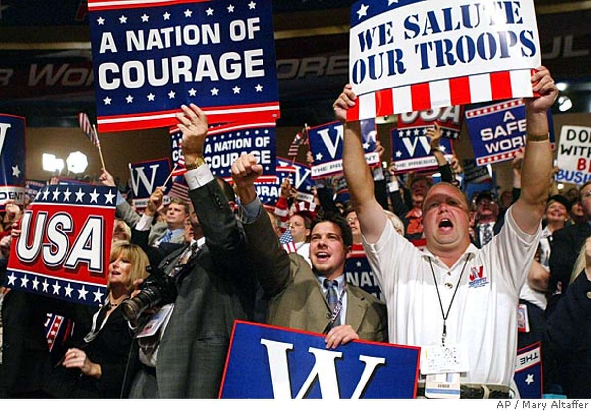 Delegates cheer during President Bush's acceptance speech at the Republican National Convention in Madison Square Garden Thursday, Sept. 2, 2004 in New York. (AP Photo/Mary Altaffer) Ran on: 09-19-2004 A self-described war president needs to be winning the war at re-election time. U.S. troops are bogged down in Iraq, and the death toll is growing.