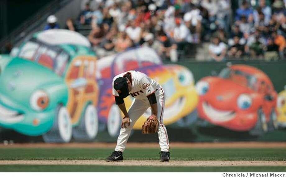 Giants shortstop 13- Omar Visquel hangs his head during the 9th inning as the Padres took the lead 5-2 in the 8th. San Francisco Giants vs. San diego Padres. Major League Baseball, SBC Ballpark. 5/28/05 San Francisco, Ca Michael Macor / San Francisco Chronicle Photo: Michael Macor