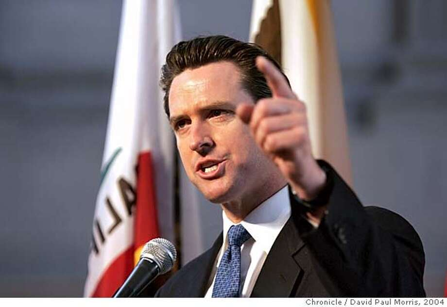 SAN FRANCISCO - FEBRUARY 12: Mayor Gavin Newsom speaks to Gay and Lesbian couples who were married last year as they attend the 1st wedding anniversary bash hosted by Mayor Gavin Newsom in City Hall on Saturday February 12, 2004. Several thousand couples along with their family and friends attended the morning event which will include celebrations throughout the day. Photo by David Paul Morris/The Chronicle Ran on: 03-05-2005  Mayor Gavin Newsom has turned down the customary invitation to address the annual Chamber of Commerce lunch Monday. Ran on: 03-05-2005  A bridge column rises Ran on: 03-07-2005  Gavin Newsom Ran on: 03-14-2005 Ran on: 03-14-2005 Mandatory credit for photographer and SF Chronicle/ Mags out. Photo: David Paul Morris