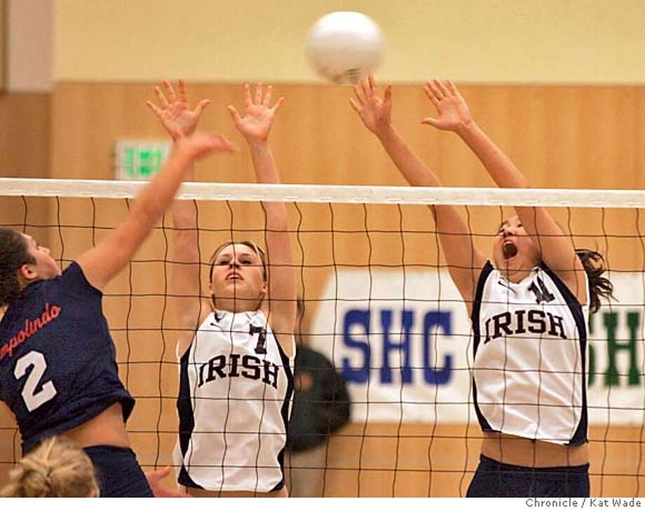 VOLLEYBALL01_104_kw.jpg  On 11/30/04 in San Francisco Campolindo's Kristen Kathan fails to spike a ball past Sacred Hearts's (L to R) Allison Weslow and Michelle Koike when San Francisco's Sacred Heart Cathedral Preparatory Women's Varsity Volleyball team beat out Moraga's Campolindo High School Women's Varsity Volleyball team in a close competition for the CIF State North Region Division III Championship Tuesday evening at Sacred Heart Cathedral Preparatory School. Sacred Heart will go on to the state championship Chronicle Photo by Kat Wade Mags out/mandatory credits San Francisco Chronicle and photographer/ Sports#Sports#Chronicle#12/1/2004#ALL#5star##0422493627 Photo: Kat Wade