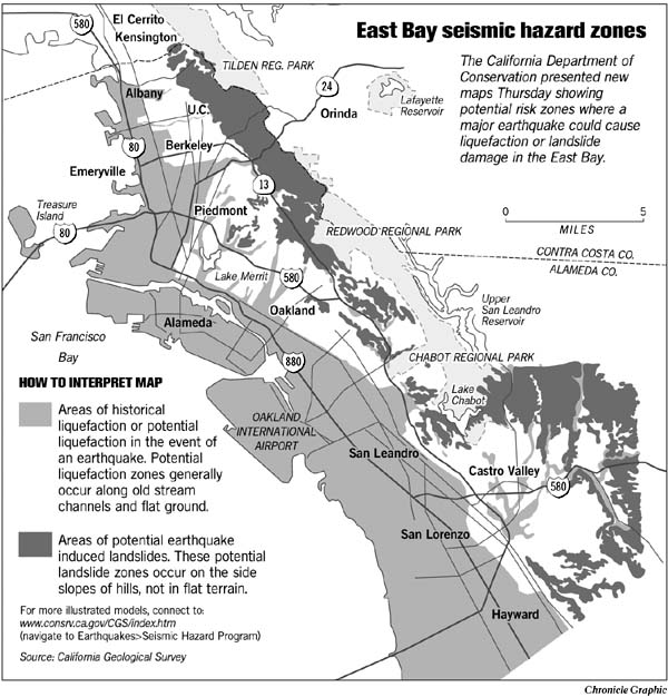 Quake maps show shaky East Bay soil  Risk of liquefaction in