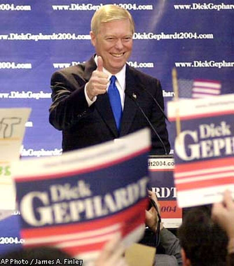 U.S. Rep. Dick , D-Mo. greets the crowd at Mason Elementary School in St. Louis as he announces his candidacy for president Wednesday Feb. 19, 2003. attended Mason Elementary as a child. (AP Photo/James Finley) Photo: JAMES FINLEY