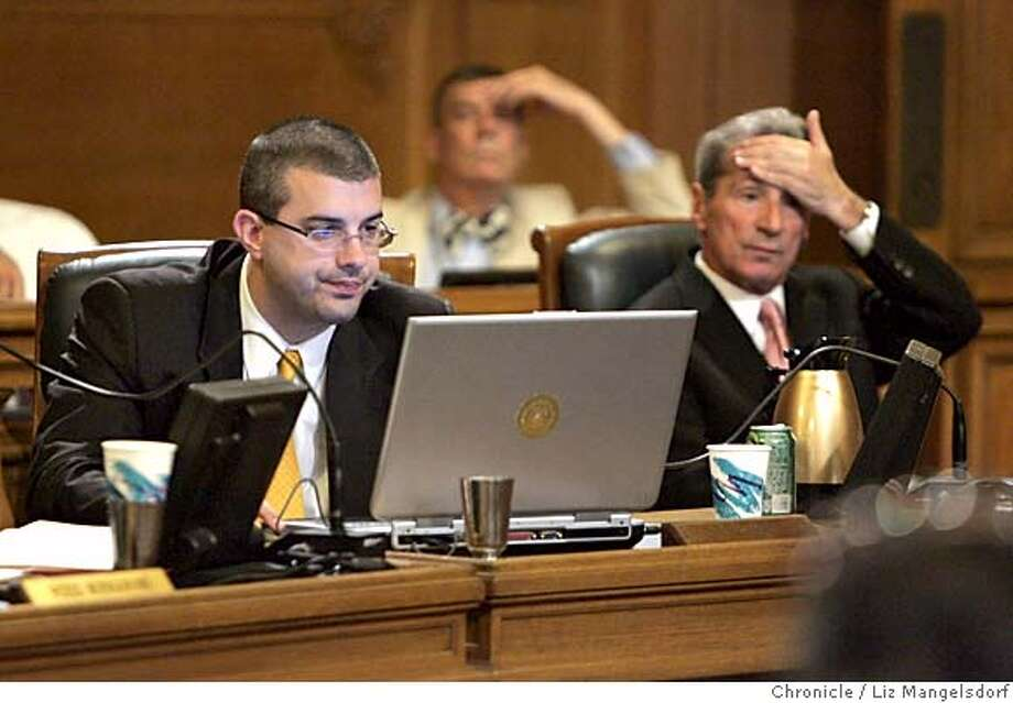 daly024_lm.JPG Event on 5/24/05 in San Francisco.  Sf Supervisors Chris Daly, left, and tom Ammiano listen to the proceedings some time after the emotional outburst by chris Daly.  Conflict at the board of supervisors, involving Supervisor chris Daly.  Liz Mangelsdorf / The Chronicle MANDATORY CREDIT FOR PHOTOG AND SF CHRONICLE/ -MAGS OUT Photo: Liz Mangelsdorf