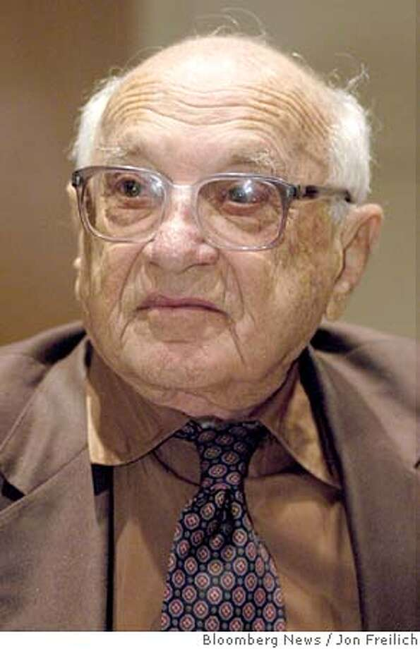 Milton , 1976 Nobel Prize-winning economist, is seen shown during a conference at the Federal Reserve Bank of Dallas, honoring and his wife Rose, in Texas, Thursday, October 23, 2003. Photographer: Jon Freilich/ Bloomberg News. Photo: Jon Freilich