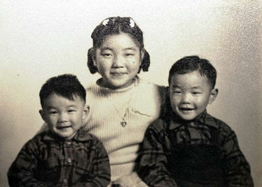 Nancy Kawata with her brothers David and Norm before the family was sent to an internment camp.