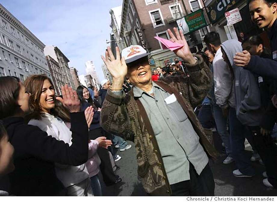 "Man who id'd himself as ""Jimmy,"" gives high-fives to volunteers from the San Francisco Rescue Mission as he enters the area to get his meal and groceries.It's the annual Thanksgiving Day story where we make the rounds of churches serving the needy. Two excellent candidates in San Francsico:  Glide Memorial United Methodist Church. 330 Ellis Street. More than 1,200 volunteers serving meals with all the trimmings from 7 a.m. until 2 p.m. .CHRISTINA KOCI HERNANDEZ/CHRONICLE Photo: CHRISTINA KOCI HERNANDEZ"