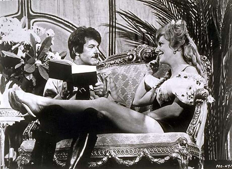 "Dick Shawn as actor Lorenzo St. DuBois playing Hitler and Renee Taylor as Eva Braun in the movie ""The Producers."""