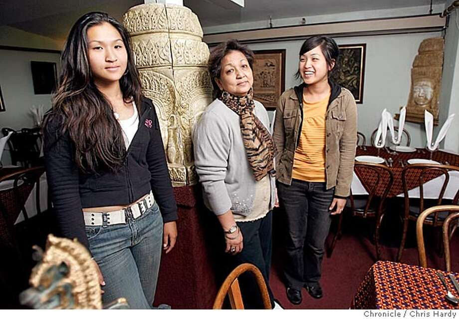 Angkor Wat, a Cambodian restaurant, will close its Geary Blvd location and relocate to Post Street. Owner Joanna Duong and her daughters Amara Dan(yellow blouse) and Amarin Dan(taller, dark sweater}. in San Francisco  5/16/05 Chris Hardy / San Francisco Chronicle Photo: Chris Hardy