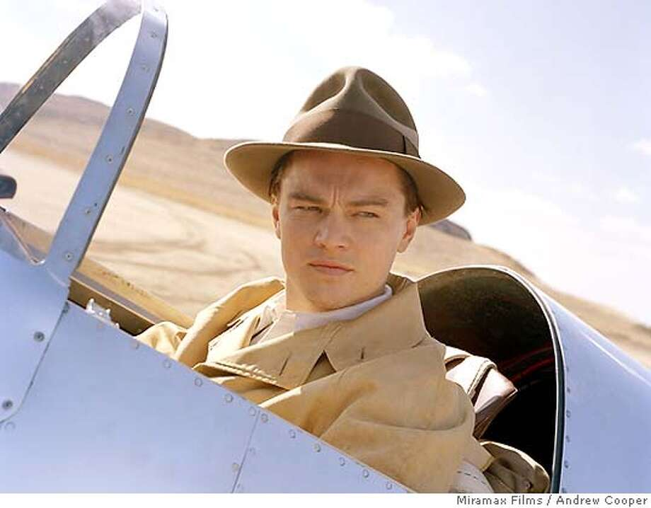 "In this undated file photo provided by Miramax Films, Leonardo DiCaprio portrays Howard Hughes in Martin Scorsese's ""The Aviator."" Some critics think it will vie fo rthe Oscar for best picture with ""Milllion Dollar Baby"" at the Academy Awards on Feb. 27, 2005. DiCaprio is also up for a best actor Oscar. AP Photo/Miramax Films, Andrew Cooper) Ran on: 02-24-2005 MAGS OUT. UNDATED Photo: ANDREW COOPER"