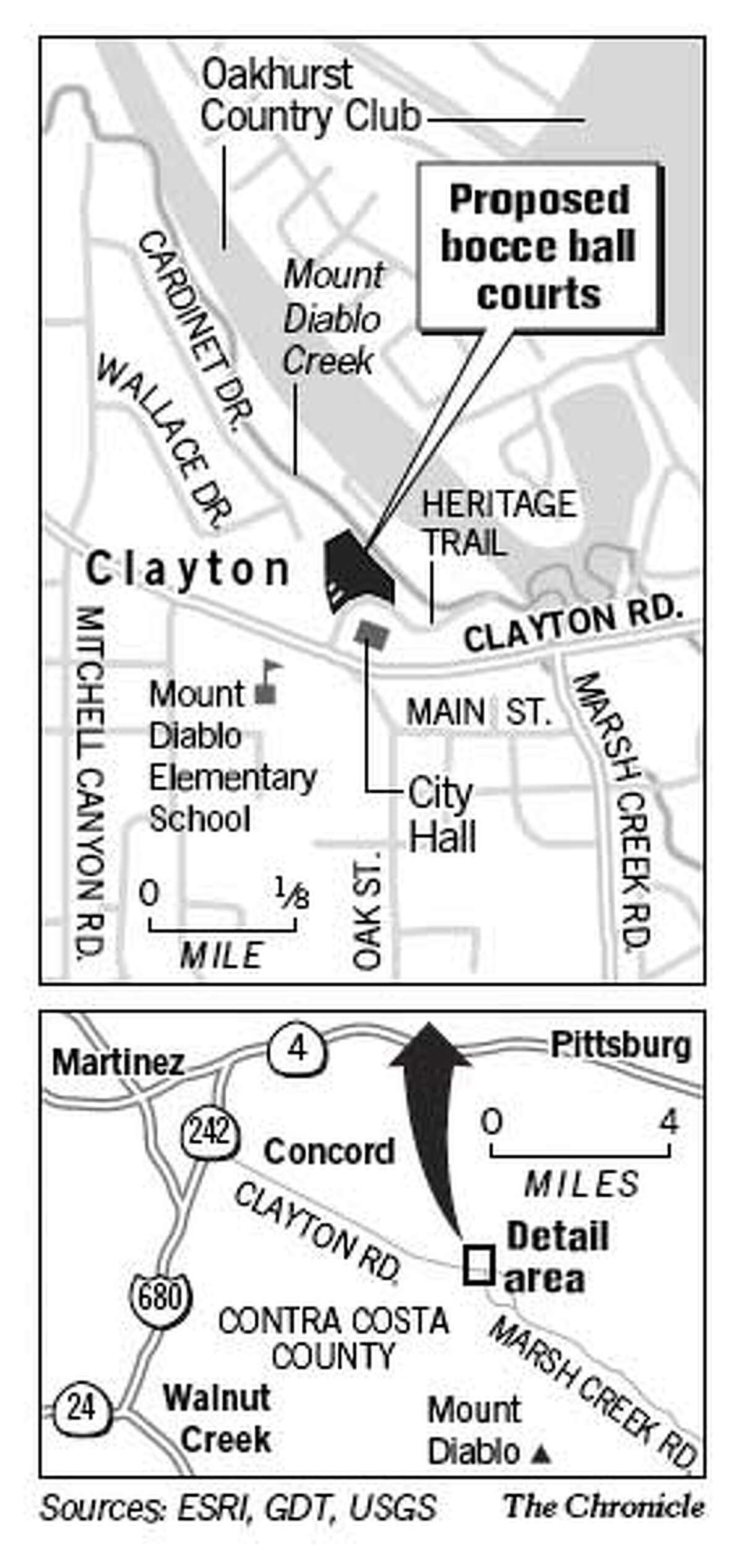 Proposed Bocce Ball Courts. Chronicle Graphic