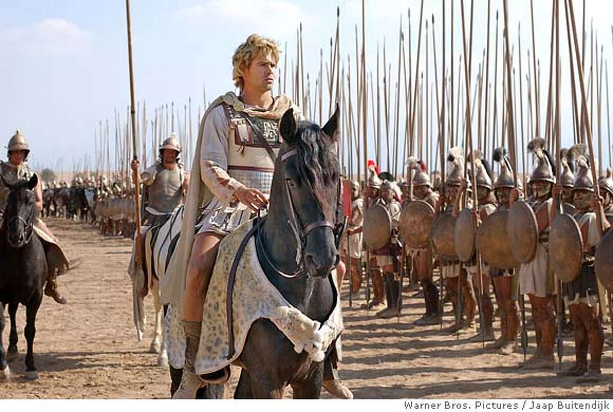 """In this photo provided by Warner Bros. Pictures, Colin Farrell as Alexander the Great, leads his army against the mighty Persian Empire in the action drama """"Alexander. """" (AP Photo/Warner Bros. Pictures/Jaap Buitendijk) Datebook#Datebook#Chronicle#11/24/2004##Advance##0422480330"""