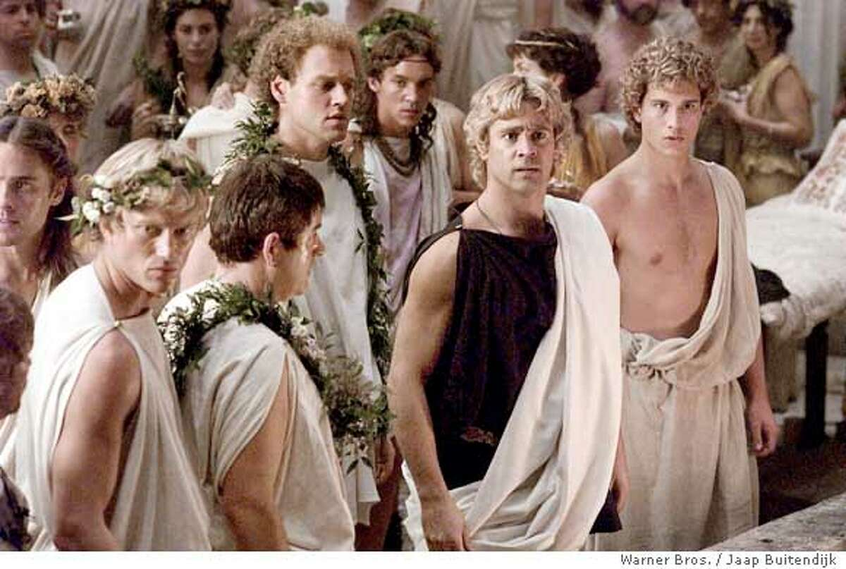 """(NYT29) UNDATED -- Nov. 18, 2004 -- GAY-ALEXANDER -- Colin Farrell, center, as Alexander, surrounded by companions in the film, """"Alexander"""" which opens on Nov. 24. With its frank and passionate portrayal of Alexander the Great�s homosexuality, the film may redefine what is acceptable when it comes to heroic portrayals on the big screen. Or where the mass audience draws its limits. (Jaap Buitendijk/Warner Brothers Pictures/The New York Times)**ONLY FOR USE WITH STORY BY BOB BAKER SLUGGED: GAY-ALEXANDER. ALL OTHER USE PROHIBITED. XNYZ Ran on: 11-24-2004 Colin Farrell plays Alexander the Great in Oliver Stones epic, Alexander."""