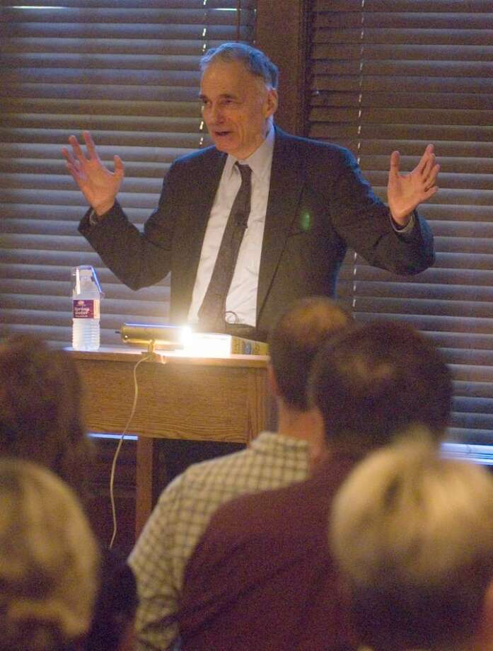 """Ralph Nader talks about his new book """"Only the super-rich can save us"""" at the Gunn Memorial Library in Washington on Thursday. Photo: Max Steinmetz / The News-Times Freelance"""