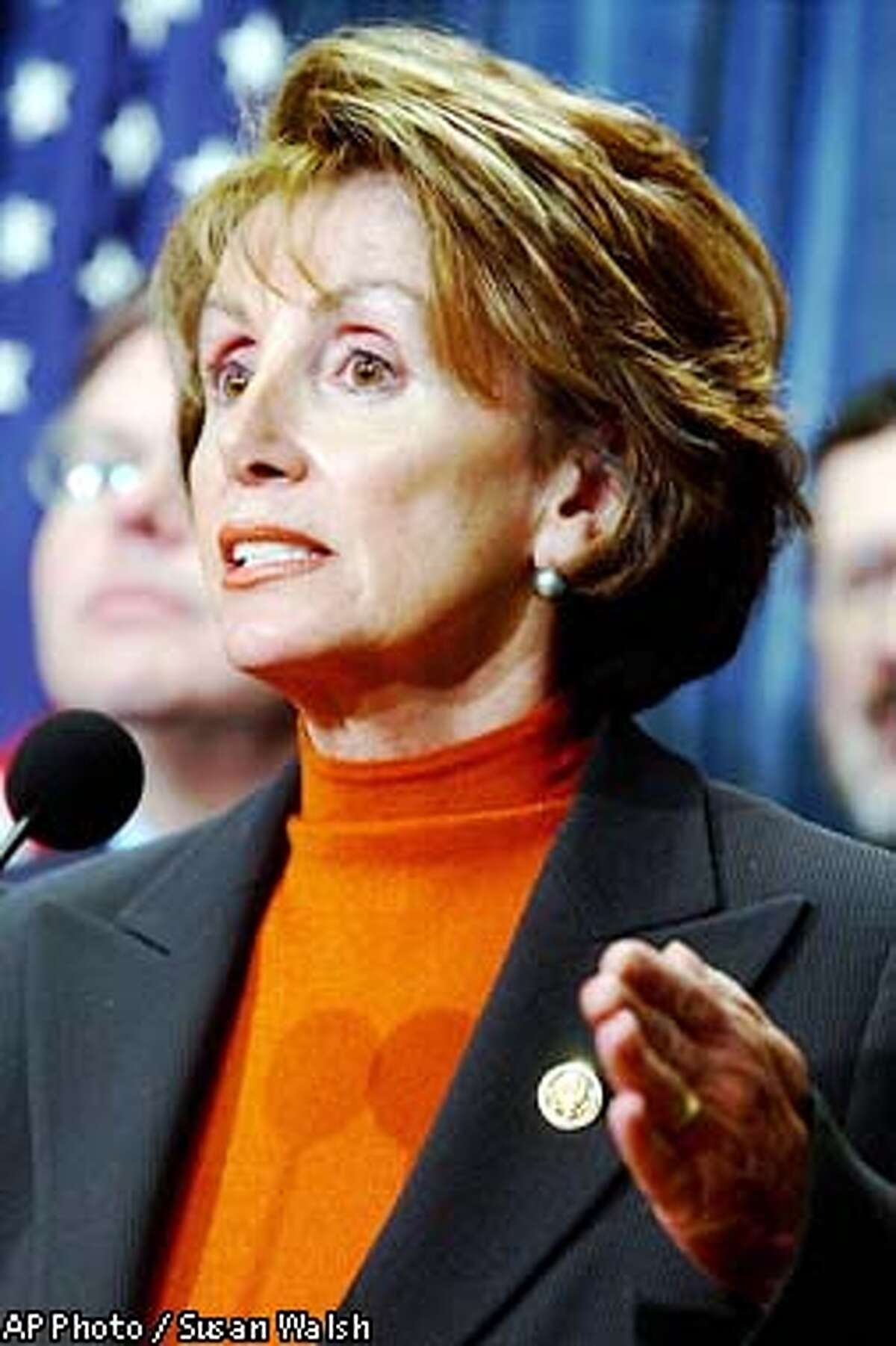 Incoming House Minority Leader Nancy Pelosi, D-Calif., outlines the Democratic economic stimulus package during a news conference on Capitol Hill in Washington, Monday, Jan. 6, 2003. President Bush unveils his plan Tuesday.(AP Photo/Susan Walsh)