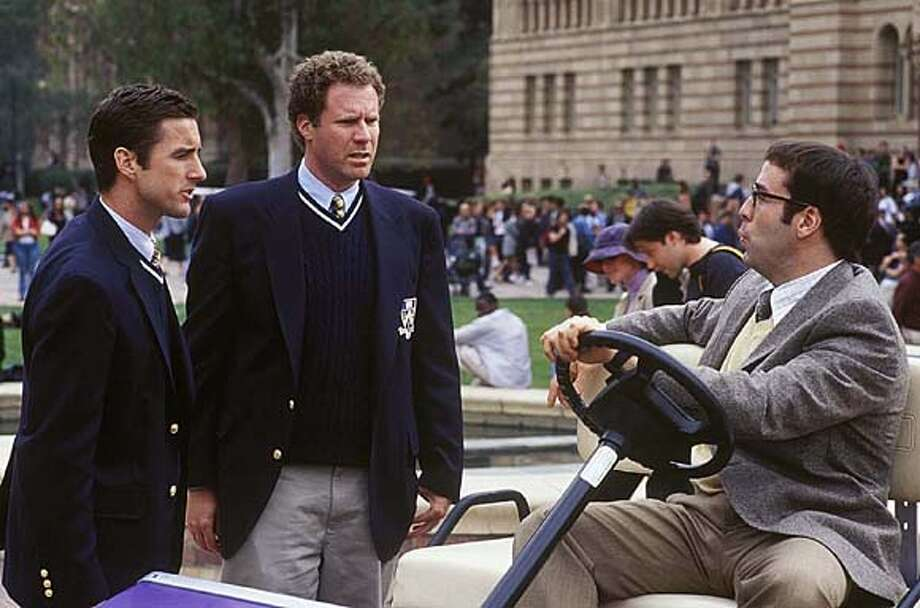 "OLD21-C-220FEB03-DD-HO  (Left to right) Mitch ( Luke Wilson) and Frank (Will Ferrell) have an encounter with Dean Pritchard ( Jeremy Piven), who is scheming to close down their off-campus fraternity in DreamWorks Pictures comedy "" ."" (AP Photo/ Richard Foreman) Photo: RICHARD FOREMAN"