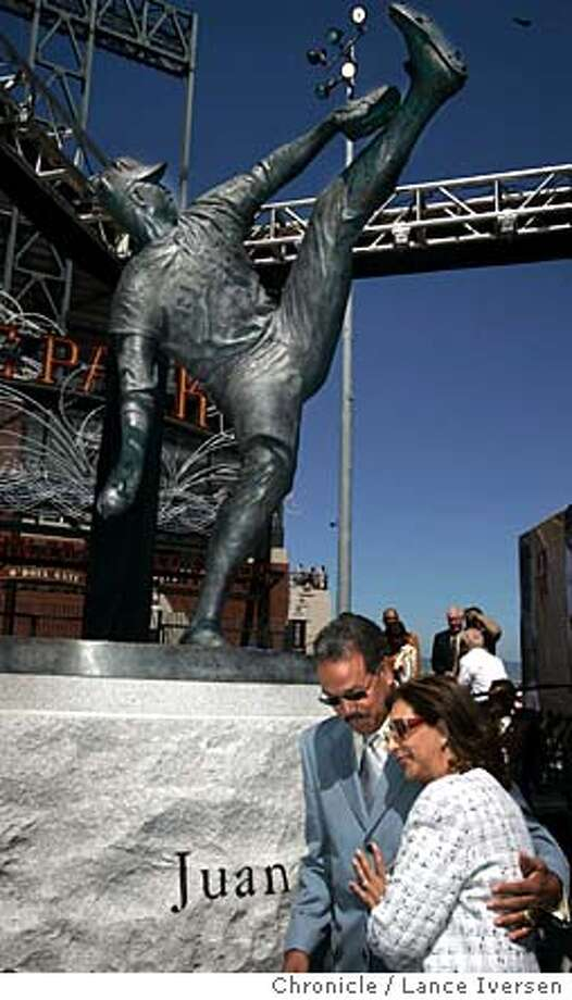 MARICHAL_147.jpg_  San Francisco Giants hall of famer Juan Marichal. Was honored at SBC Park Saturday with the unveiling and dedication of a high kicking statue in Marichal's honor. His wife Alma joined him at the base, which is located on the south side of the stadium. Among those at the ceremonies were Willie Mays, Willie McCovey, Orlando Cepeda and Gaylord Perry, San Francisco Giants Hall of Famers; Felipe Alou, Manager, San Francisco Giants; and Guest of Honor; Dr. Leonel Fernandez, President of the Dominican Republic.  By Lance Iversen/San Francisco Chronicle Photo: Lance Iversen