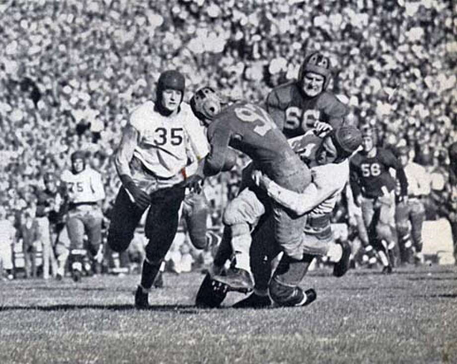 "Vic Bottari helped the 1937 ""Thunder Team'' go unbeaten and collect Cal's last Rose Bowl victory. Cal Yearbook Photo"