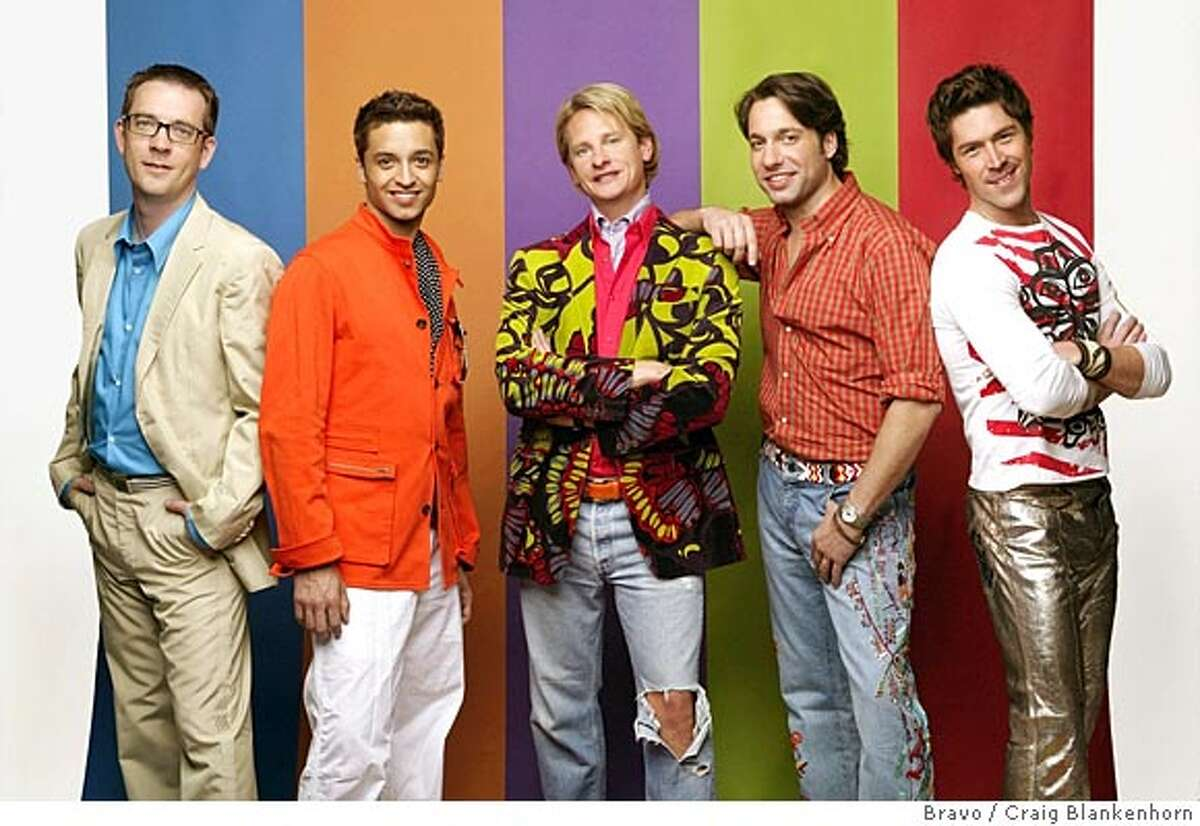 """(NYT5) UNDATED -- Dec. 17, 2003 -- CHILDREN-DECORATING-3 -- The cast of Bravo's """"Queer Eye for the Straight Guy"""" pose in this undated publicity photo. From left: Ted Allen, Jai Rodriguez, Carson Kressley, Thom Filicia, and Kyan Douglas. Bombarded with Pottery Barn Teen catalogues and TV shows such as Trading Spaces, MTV's The Crib, and even Queer Eye for the Straight Guy, the world of decorating has definitely trickled down to the 9-year-old level. (Craig Blankenhorn/Bravo via The New York Times) Will Queer Eye turn its focus on gussying up the Democratic presidential candidates? XNYZ HFO"""
