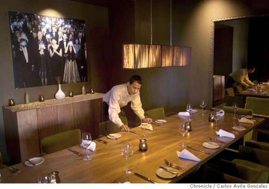 Pictures of Americano for dining out. This new restaurant is in the Hotel Vitale near the Embarcadero. Pictured here is the private dining room.  Photo by Carlos Avila Gonzalez / The San Francisco Chronicle  Photo taken on 5/2/05 in San Francisco, CA. Photo: Carlos Avila Gonzalez