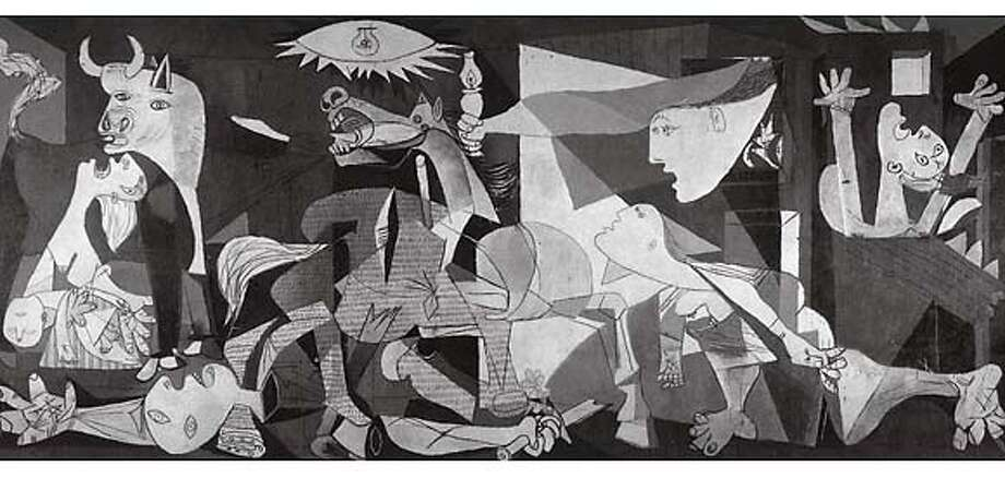 "Picasso painted ""Guernica"" (actual size is 11-feet-6 by 25-feet-8) after Spain's Fascists slaughtered more than 1,000 civilians in a town of that name. Photo from ""Guernica"""