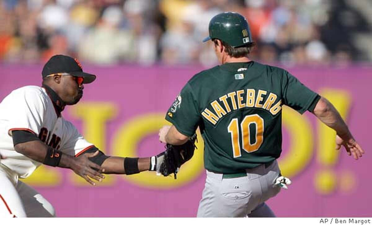 San Francisco Giants second baseman Ray Durham, left, tags out Oakland Athletics' Scott Hatteberg on a third inning steal attempt Saturday, May 21, 2005, in San Francisco. (AP Photo/Ben Margot)