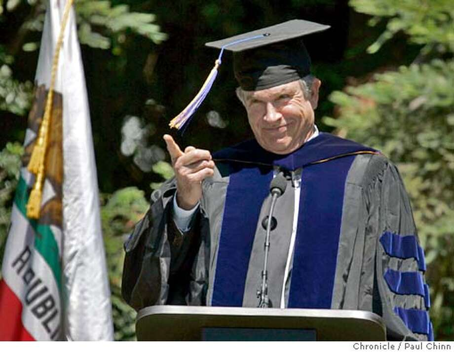 Actor Warren Beatty delivered the keynote address at graduation ceremonies for the Goldman School of Public Policy at the University of California on 5/21/05 in Berkeley, Calif. During the speech, Beatty took the opportunity to criticize Gov. Arnold Schwarzenegger's administration.  PAUL CHINN/The Chronicle Photo: PAUL CHINN