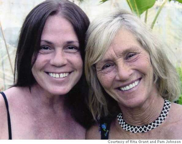 Rita Grant, right, with her sister Pam. Rita was homeless and was rescued from the street by Pam after a story ran in the Chronicle. Rita just got new false death (dentures) donated by a dentist in Florida. Her teeth were all broken and rotted out while she was homeless, so her new dentures have restored her smile. Photo May 2005 courtesy of Rita Grant and Pam Johnson (her sister.)