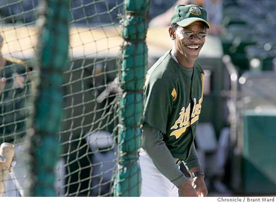 washington615_ward.jpg  Around the batting cage, coach Ron Washington keeps things light despite a long losing streak for the A's.  Ron Washington has been the Oakland A's third base coach since the days of Art Howe. He is beloved by teammates and other players in the game. These pictures are from warm-ups and a game against the Boston Red Sox. Brant Ward 5/17/05 Photo: Brant Ward
