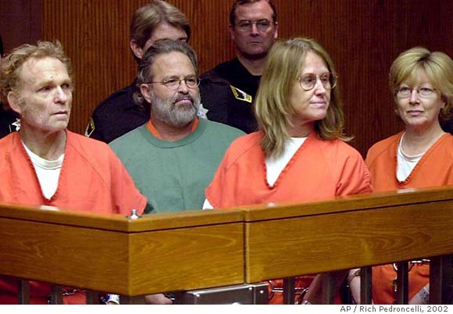 Former Symbionese Liberation Army members Michael Bortin, left, William Harris, center left, Sara Jane Olson, center right, and Emily Harris, right, make another appearence in Superior Court on charges stemming from a 1975 bank robbery and murder, Monday, Feb. 11, 2002 in Sacramento, Calif. The four had their request granted to have their cases consolidated before one judge. (AP Photo/Rich Pedroncelli) ALSO RAN 5/18/02, 11/08/02 Ran on: 11-26-2004  Former SLA members (from left) Michael Bortin, William Harris, Sara Jane Olson and Emily Harris were tried in Sacramento in 2002 on charges from a 1975 bank robbery and killing. Photo: RICH PEDRONCELLI