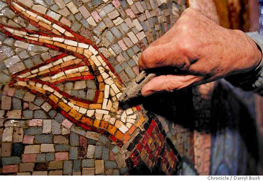 sfgreek22_003_db.jpg  Bob Andrews, mosaic iconographer, high on a scaffold, scrapes and cleans off his newly installed mosaic icons at the Holy Trinity Greek Orthodox Church on Brotherhood Way.  Event on 4/13/05 in San Francisco.  Darryl Bush / The Chronicle Bob Andrews, mosaic iconographer, has been creating mosaic icons at the Holy Trinity Greek Orthodox Church on Brotherhood Way for 40 years. MANDATORY CREDIT FOR PHOTOG AND SF CHRONICLE/ -MAGS OUT Photo: Darryl Bush