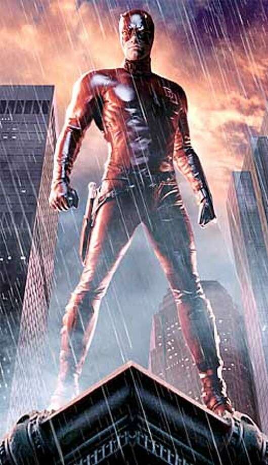 """Ben Affleck wears a two-piece leather cat suit in """"Daredevil,"""" rather than the red unitard of the comic book character"""