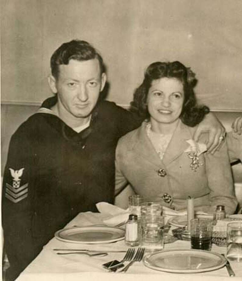 Photo of Josephine (Ferragamo) Simpson with Vincent Simpson, a San Franciscan born Irishman, who was born and raised on Bernal Heights. They married in 1943 when Vince was home on leave from duty in the Pacific where he fought in World War II.