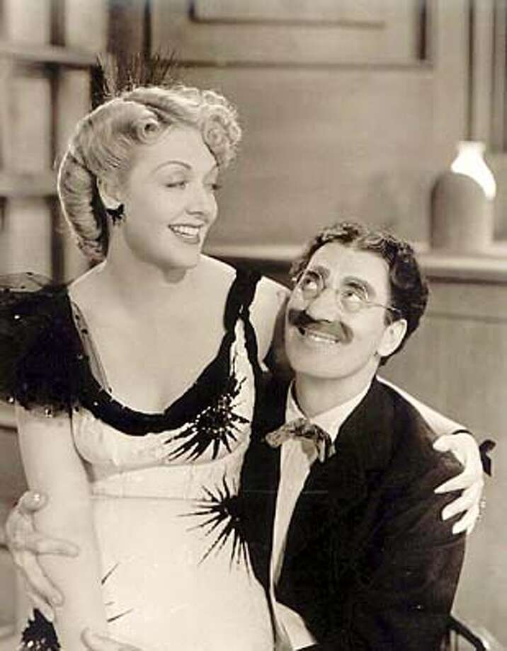 "obit-MacCloy.JPG Obit photo of actress June MacCloy. Pictured here: June MacCloy as Lulubelle in ""Go West"" (MGM, 1940) with Groucho Marx Handout Handout Photo: Handout"
