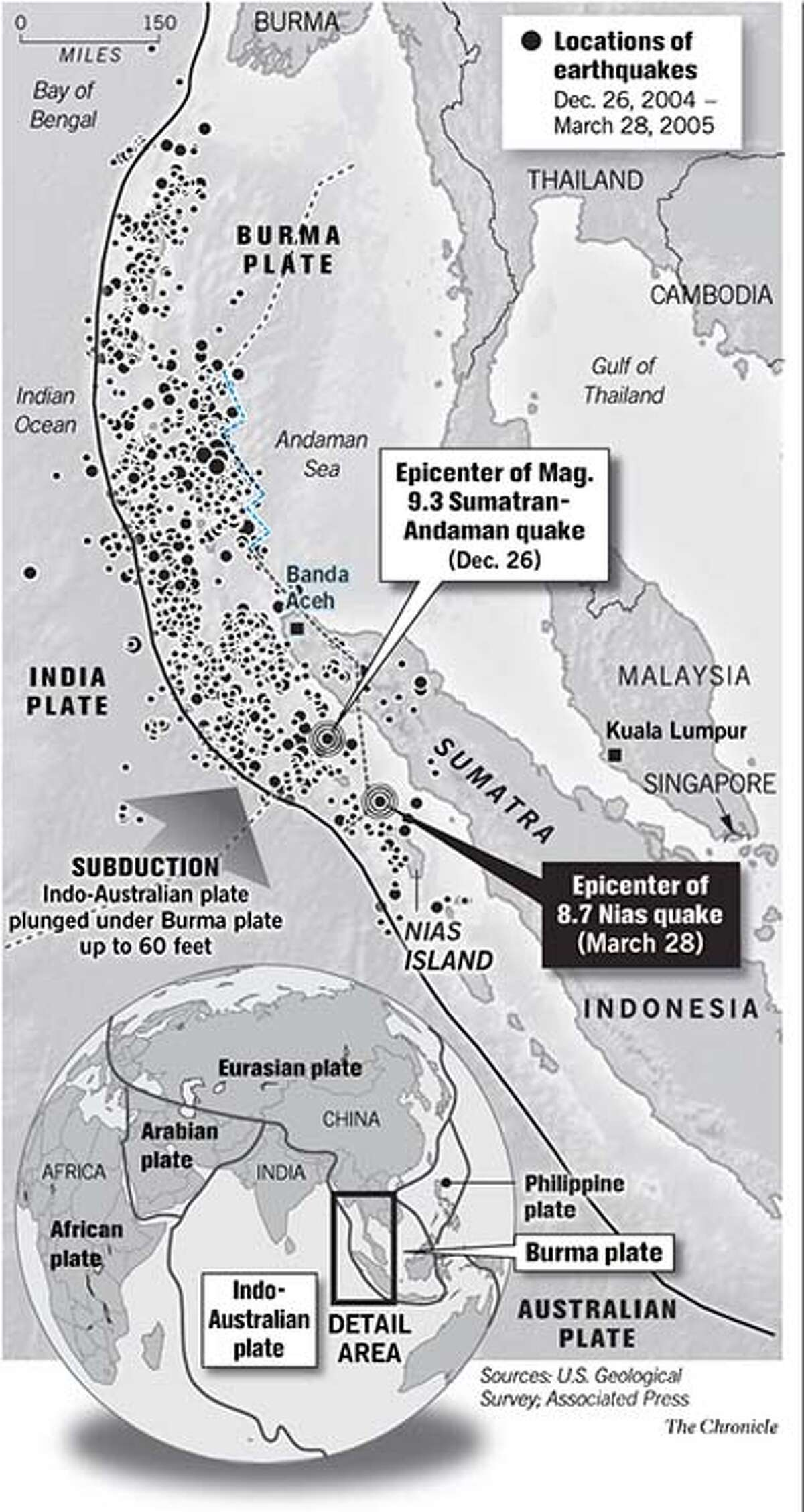 Locations of earthquakes from December 26, 2004 to March 28, 2005. Chronicle Graphic