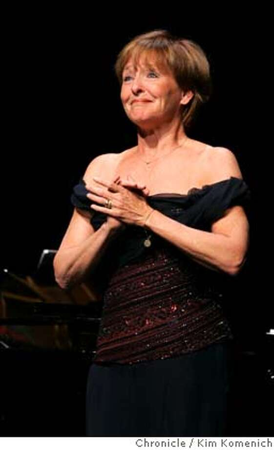 GALA_052_kk.jpg  Frederica von Stade acknowledges the applause at the end of her performance.  Andre Watts, Frederica von Stade and the Eroica Trio are featured in the 25th anniversary gala for San Francisco Performances. Perfomances founder Ruth Felt is honored by Charles Hamlin in the opening moments. Photo by Kim Komenich in San Francisco Datebook#Datebook#Chronicle#11/24/2004#ALL#Advance##0422391182 Photo: Kim Komenich