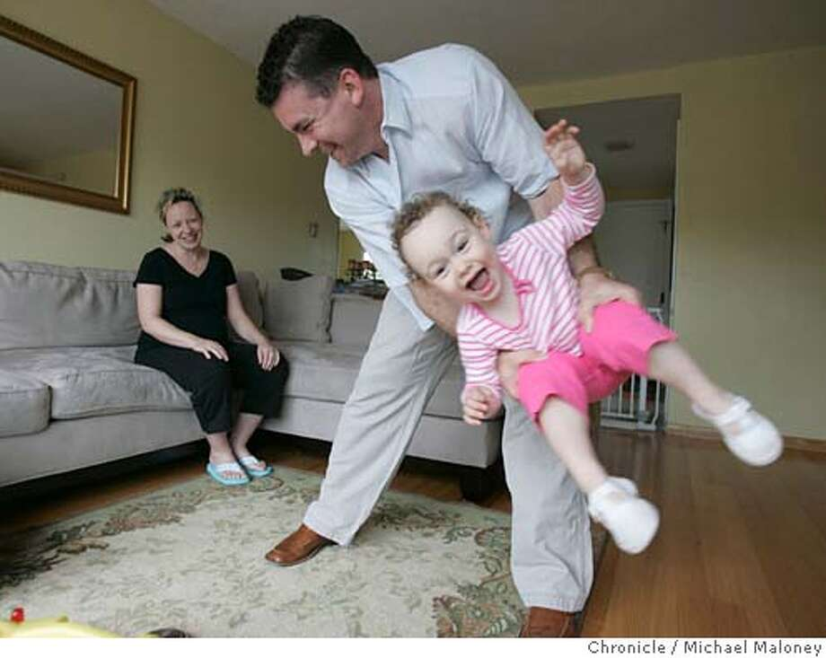INTERESTONLY_016_MJM.jpg  Michael Kelly plays with his two year old daughter Caitlin (cq) Kelly as his wife, Mary Kelly looks on.  With a two year old daughter and another child due this summer, Michael and Mary Kelly of Foster City purchased a bigger home to grow in with an interest only loan.  A whopping 90 percent of San Francisco home buyers in the first part of the year turned to interest only loans, mortgages that defer payment of principal to a later date, a figure some experts say underscores potential risks to the health of the region�s real estate market.  Photo by Michael Maloney / San Francisco Chronicle MANDATORY CREDIT FOR PHOTOG AND SF CHRONICLE/ -MAGS OUT Photo: Michael Maloney