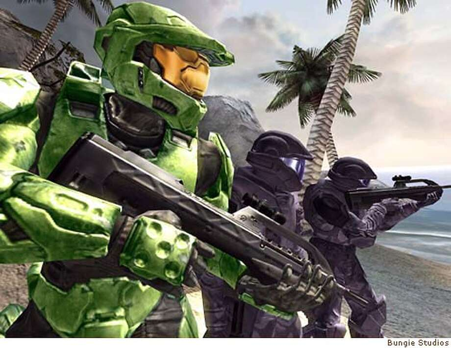 (NYT20) UNDATED -- NOVEMBER 7, 2004 -- MICROSOFT-GAME -- A screen shot from Halo 2, the new video game from Microsoft, exclusively for Xbox players. The anticipated release of Halo 2, the sequel to Microsoft�s best-selling 2000 game, is the latest and perhaps the best indication of how the blockbuster mentality of Hollywood has pervaded the video game industry. (Bungie Studios via The New York Times) **ONLY FOR USE WITH STORY BY ROBERT LEVINE SLUGGED: MICROSOFT-GAME. ALL OTHER USE PROHIBITED. XNYZ, **ONLY FOR USE WITH STORY BY ROBERT LEVINE SLUGGED: MICROSOFT-GAME. ALL OTHER USE PROHIBITED. Datebook#Datebook#Chronicle#11/23/2004#ALL#Advance##0422456077 Photo: BUNGIE STUDIOS