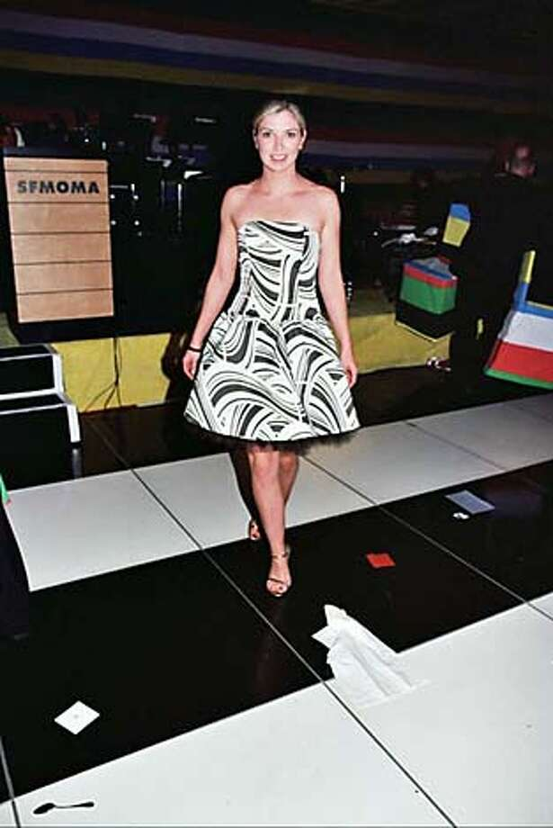 Cameron Phleger in a black and white Jessica McClintock dress at SFMOMA's Modern Ball on Wednesday, May 4, 2005.  Photo by Thomas J. Goibbons / Special to The Chronicle Photo: Photo By Thomas J. Goibbons / Sp