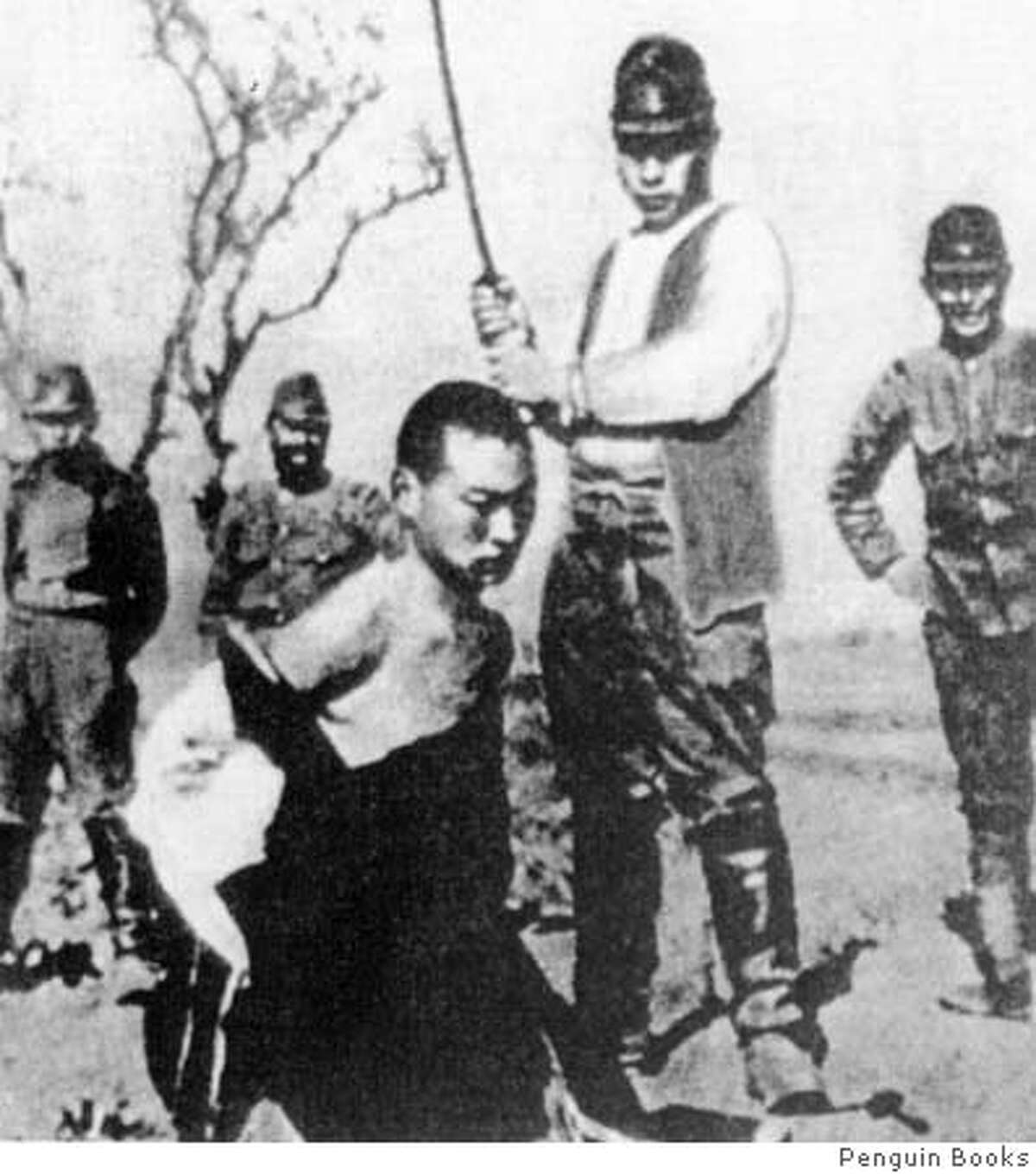 Chang20 In Nanking the Japanese turned murder into sport. Note the smiles on the Japanese in the background. (Revolutionary Documents, Taipei/Penguin Books Datebook#Datebook#Chronicle#11/20/2004#ALL#Advance##0422474067