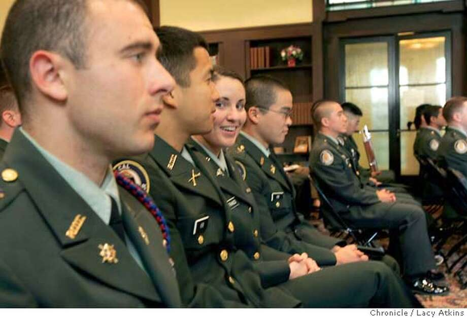 (Left to right) Max Frank waits as Andrew Kim and Kathryn LoFranco talks sitting next to Ben Kim, before the ROTC award ceromony begins at UC Berkeley, May 10, 2005, in Berkeley. All four cadets are seniors at UC Berkeley. ROTC recruiting across the country is down although it is holding strong at UC Berkeley and other local campuses. As their classmates prepare to go off to civilian jobs in office parks, some of these ROTC graduates are preparing to enter the war in Iraq.  They will hold an ROTC awards ceremony Tuesday from 4-5 p.m. at the Bancroft Hotel at 2630 Bancroft near college ave. City:� Photographer Lacy Atkins ROTC recruiting across the country is down although it is holding strong at UC Berkeley and other local campuses. As their classmates prepare to go off to civilian jobs in office parks, some of these ROTC graduates are preparing to enter the war in Iraq.  They will hold an ROTC awards ceremony Tuesday from 4-5 p.m. at the Bancroft Hotel at 2630 Bancroft near college ave. City:� Photographer Lacy Atkins Photo: LACY ATKINS
