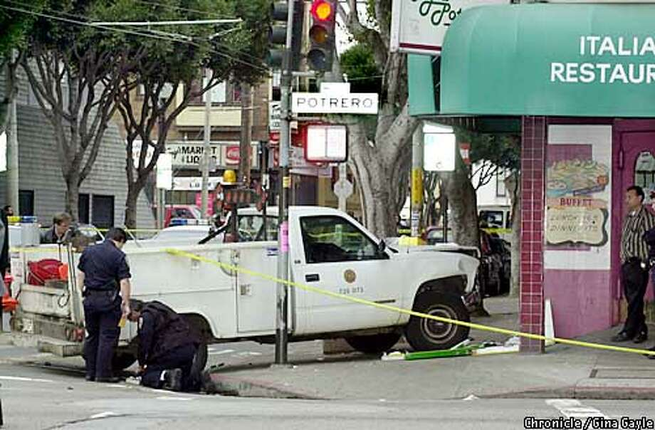 The scene of an accident at 24th and Portrero where a city vehicle that was hit by a civilian car jumped the curb hitting 4 people and killing a young child (PLEASE CHECK STORY FOR # OF PEOPLE HIT AND AGE OF CHILD KILLED). Photo by Gina Gayle/The SF Chronicle. Photo: Gina Gayle