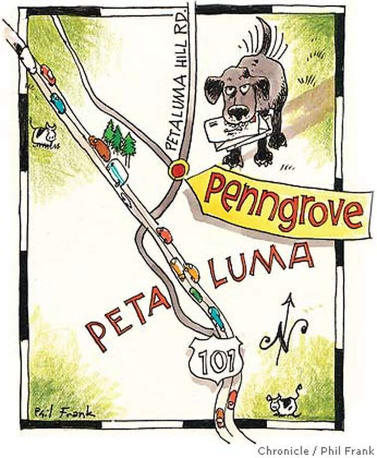 Penngrove. Chronicle illustration by Phil Frank