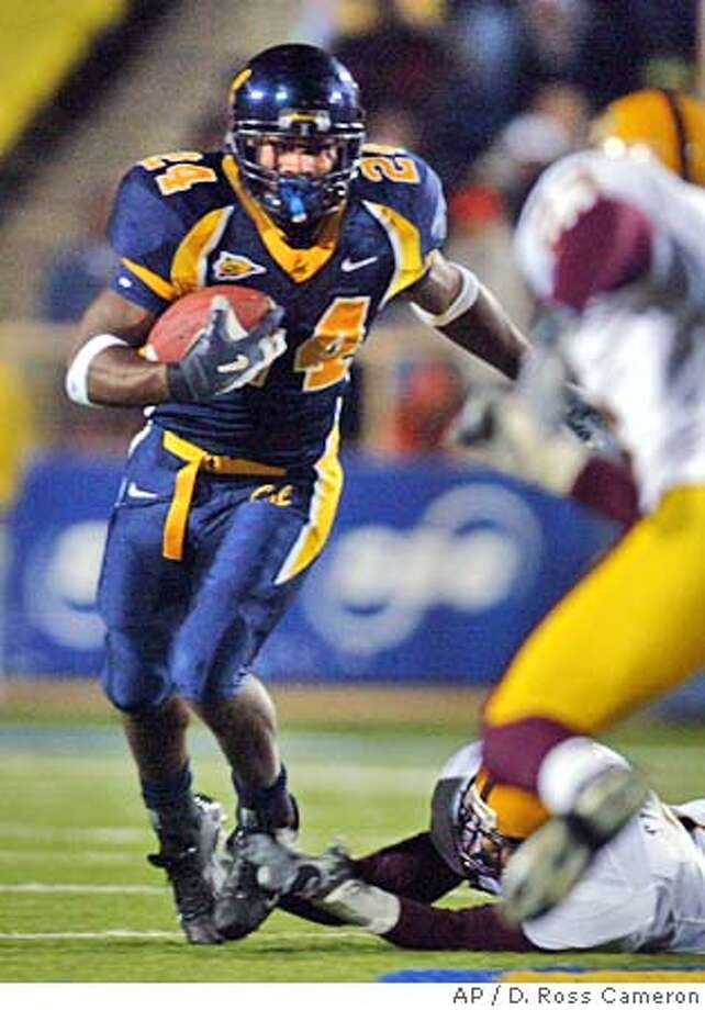 California running back Marshawn Lynch breaks a tackle against Arizona State in the third quarter, Saturday, Oct. 30, 2004 in Berkeley, Calif. (AP Photo/D. Ross Cameron) Sports#Sports#Chronicle#11/19/2004#ALL#5star##0422442119 Photo: D. ROSS CAMERON