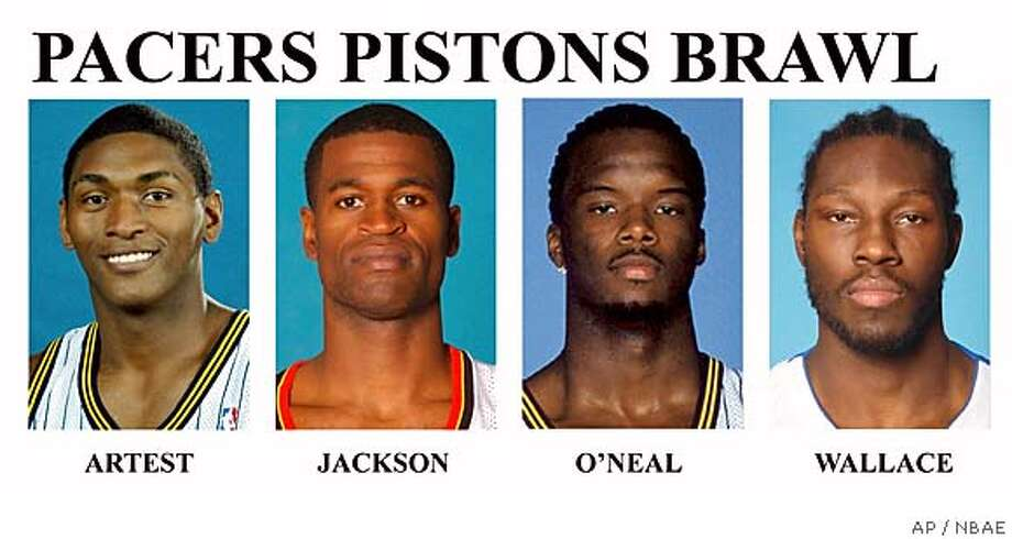 "** FILE ** The NBA has suspended Ron Artest, Jermaine O'Neal and Stephen Jackson of the Indiana Pacers and Ben Wallace of the Detroit Pistons indefinitely on Saturday, Nov. 20, 2004, for their roles in Friday night, Nov. 19. Commissioner David Stern calls brawl ""shocking, repulsive and inexcusable."" All are shown in these 2003 handout photos. (AP Photo/NBAE)"