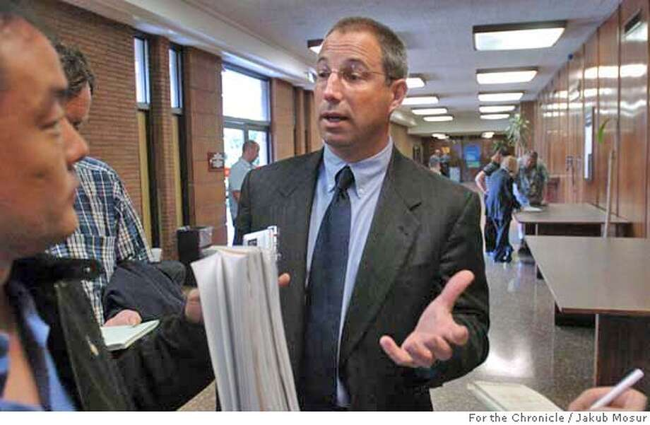 VIDABLUE_02_JMM.JPG  Joshua Bentley, defense attorney for former pitching star Vida Blue, speaks with reporters at the South San Francisco Courthouse.  Event on 5/16/05 in South San Francisco. JAKUB MOSUR / The Chronicle MANDATORY CREDIT FOR PHOTOG AND SF CHRONICLE/ -MAGS OUT Photo: JAKUB MOSUR