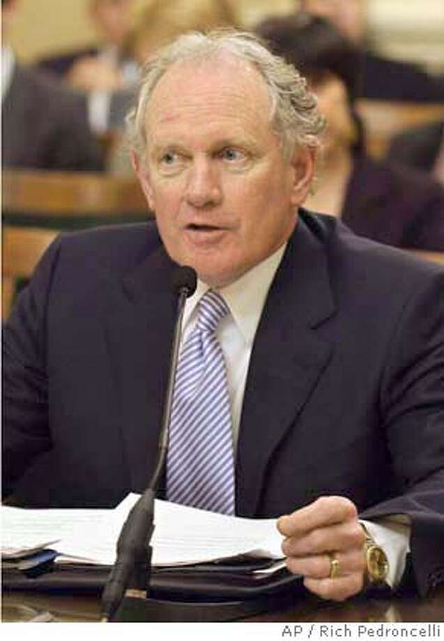 Former state Sen. Bruce McPherson, R-Santa Cruz, answers questions concerning his nomination as Secretary of State before the Assembly Rules Committee at the Capitol in Sacramento, Calif., Wednesday, March 30, 2005. McPherson, Gov. Arnold Schwarzenegger's nominee to replace Kevin Shelley, who resigned earlier this year, has already been approved by the Senate. (AP Photo/Rich Pedroncelli) Ran on: 04-02-2005  Bruce McPherson, the newly appointed secretary of state, replaced Kevin Shelley, who resigned. Ran on: 05-06-2005  Bruce McPherson Ran on: 05-06-2005  Bruce McPherson ALSO Ran on: 05-06-2005 Photo: RICH PEDRONCELLI