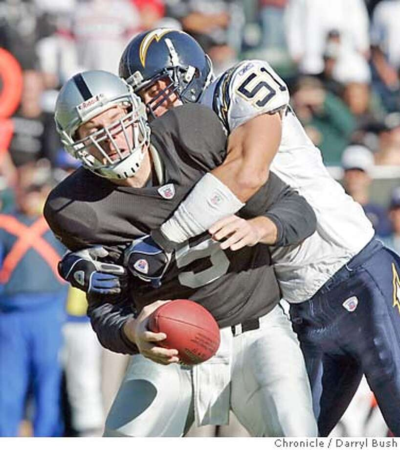 Chargers linebacker Ben Leber brings down Kerry Collins, who was interception-free Sunday. Chronicle photo by Darryl Bush